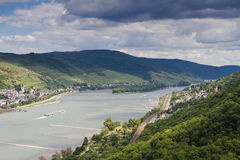View of the Rhine valley towards Lorch Stock Photo