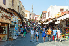 View of Rhodes old city centre square Royalty Free Stock Images