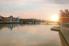 View of the Rhone river at sunset Lyon France Royalty Free Stock Photography