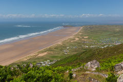 View from Rhossili Down to Burry Holms and Hillend The Gower Wales UK in summer Royalty Free Stock Image