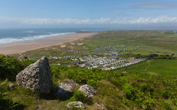 View from Rhossili Down to Burry Holms and Hillend The Gower Wales UK in summer Stock Image