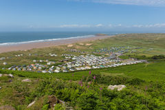 View from Rhossili Down to Hillend The Gower South Wales UK in summer Royalty Free Stock Photography