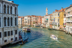 View from Rialto bridge at the Canal Grande in Venice Royalty Free Stock Photography