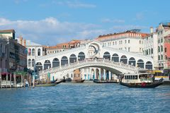 View of the Rialto Bridge by a sunny day. Venice, Italy Royalty Free Stock Photography