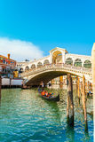 View of Rialto Bridge at sunset in Venice, Italy Royalty Free Stock Photos