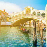 View of Rialto Bridge at sunset in Venice, Italy royalty free stock images