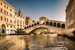 View of the Rialto Bridge in Venice  at sunset. Royalty Free Stock Images