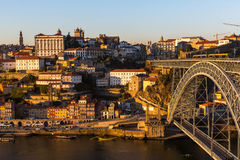 View of Ribeira at Douro river and Dom Luis I bridge, Porto Stock Photography