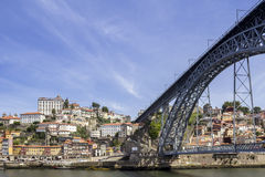 View of Ribeira historical quarter, on the margin Douro river Royalty Free Stock Photography