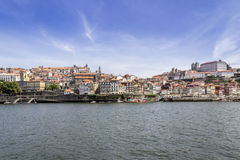 View of Ribeira historical quarter, on the margin Douro river Royalty Free Stock Images