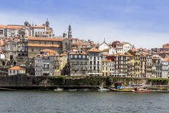 View of Ribeira historical quarter, on the margin Douro river Stock Images