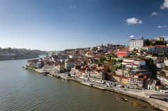 View of the Ribeira Neighborhood and the Douro River in the city of Porto Royalty Free Stock Images