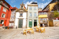 Porto city in Portugal. View on the Ribeira promenade with beautiful buildings and Lada chappel in Porto city, Portugal royalty free stock images