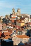 View of Ribeira with  Se Do Porto in Porto, Portugal. View of Ribeira with  Se Do Porto on a horizon top, old roman cathedral in Porto, Portugal Stock Image