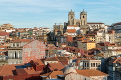 View of Ribeira with  Se Do Porto in Porto, Portugal. View of Ribeira with  Se Do Porto on a horizon top, old roman cathedral in Porto, Portugal Stock Photography