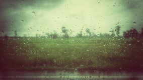 A view of rice field vintage from raindrop on the window. Raindrop and rice field Stock Photos