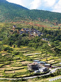 View of the Rice Terrace in Bhutan. The Rice Terrace and the Bhutanese Village on the Hill in the Rural Area of Bhutan Stock Photo
