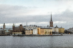 View of Riddarholmen and Gamla Stan from the Kungsholmen island. 5 January 2016.Stockholm. View of Riddarholmen and Gamla Stan from the Kungsholmen island in Royalty Free Stock Images