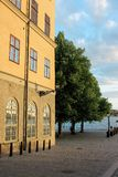 A view of Riddarholmen island and its seafront in a sunny summer day in Stockholm, Sweden royalty free stock photos