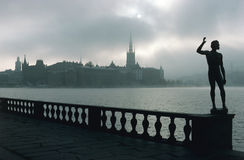View of Riddarholmen in Stockholm. Photographed from City Hall a foggy day Royalty Free Stock Images