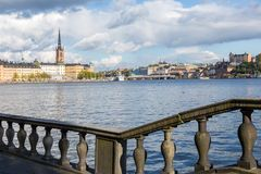 View of Riddarholmen, Stockholm. With Water and a Cloudy Sky Royalty Free Stock Photo