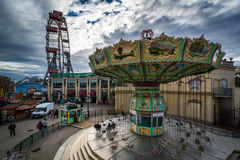 View of rides at Prater, in Vienna, Austria. Royalty Free Stock Photos
