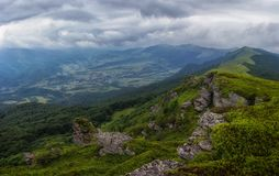 View on the ridge. Vododelniy ridge in the Carpathian mountains Royalty Free Stock Photography