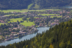 View from riederstein mountain to rottach-egern and lake tegerns Royalty Free Stock Photos