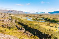 View of rift valley with fault in Thingvellir park. Travel to Iceland - above view of rift valley with earth fault in Thingvellir national park in september Stock Photos