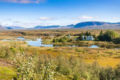 View of rift valley in Thingvellir national park. Travel to Iceland - view of rift valley in Thingvellir national park in september Royalty Free Stock Photo