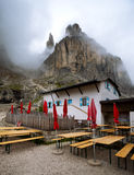 View of the  Rifugio Vajolet. Pozza Di Fassa, Italy Royalty Free Stock Photography