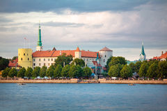 View of Riga Castle, St. Peter's Church Stock Photography