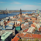View from Riga city center viewpoint - retro filter. Latvia. Royalty Free Stock Images