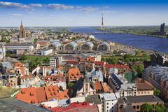 View of Riga skyline. Towards TV tower Royalty Free Stock Image