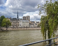 View from the right bank of the Seine to the island Cite Royalty Free Stock Image