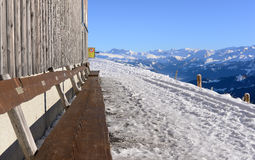 View from the Rigi Kulm in winter with wooden bench for taking v. Iew, Lucerne, Switzerland royalty free stock photography