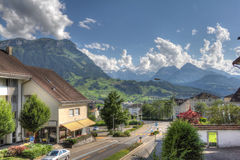 View on Rigi mountain from Schwyz. Rigi mountain as seen from old town in Schwyz, Switzerland Royalty Free Stock Photos