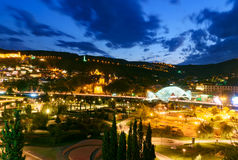 View of Rike Park with Bridge of Peace at night. Tbilisi, Georgia Royalty Free Stock Photography