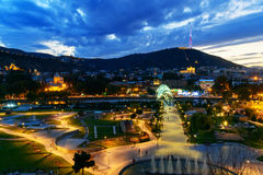 View of Rike Park with Bridge of Peace at night. Tbilisi, Georgia Stock Image