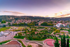 View of Rike Park with Bridge of Peace at sunset. Tbilisi, Georgia Royalty Free Stock Image