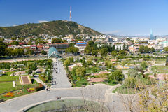 View of Rike Park with Bridge of Peace in Tbilisi, Georgia Stock Photography
