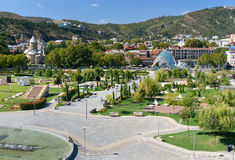 View of Rike Park with Bridge of Peace in Tbilisi, Georgia Royalty Free Stock Photos