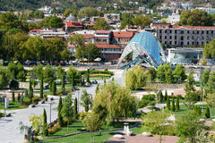 View of Rike Park with Bridge of Peace in Tbilisi, Georgia Royalty Free Stock Images