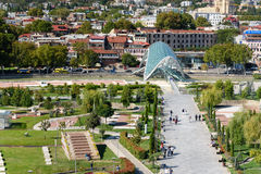 View of Rike Park with Bridge of Peace in Tbilisi, Georgia Stock Photo