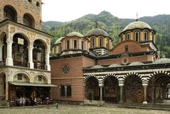View of the Rila monastery with bell tower Royalty Free Stock Image