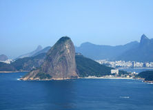View of Rio de Janeiro city. Entrance, showing the Sugar Loaf and Christ Redeemer Royalty Free Stock Photos