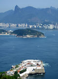 View of Rio de Janeiro city. Protected by the fortress in Niterói, showing the Corcovado, Christ Redeemer, and fortress in Niterói stock image