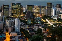 Rio de Janeiro City Downtown View at night. View of Rio de Janeiro city downtown from Santa Teresa, at night stock photography