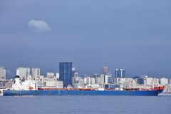 View of Rio de Janeiro city and freighter Royalty Free Stock Photos
