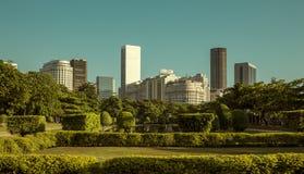 View of Rio de Janeiro downtown from Praca Paris. Paris Square, Brazil royalty free stock photography
